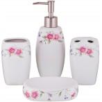 Набор для ванной комнаты 4 пр.:дозатор для мыла, мыльница, стакан для зубных щеток , стакан (кор=12к