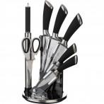 Набор ножей нжс с силиконовыми ручками на пластик. подставке 8 пр. (кор=6набор.)
