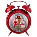 Будильник новогодний интерьерный  с музыкой и подсветкой цвет: красный 14*8 см высота=18 см (кор=6 ш