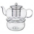 Чайник заварочный с фильтром из нжс и стеклянной подставкой для подогрева 800 мл (кор=24набор.)