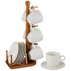 Кофейный набор на 6 персон 12 пр. на деревянной подставке объем чашки= 100 мл