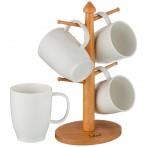 Набор кружек из 4 шт. на деревянной подставке объем кружки= 350 мл (кор=6набор.)
