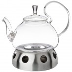 Чайник заварочный agness с фильтром из нжс и подставкой для подогрева 800 мл (кор=18 набор.)