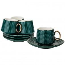 Кофейный набор на 4пер. 8пр. 90мл, темно-зеленый(кор=12наб.)
