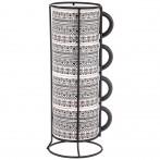 Набор чашек из 4 шт. на металлической подставке коллекция