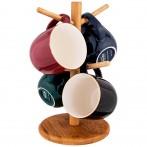Набор из 4 кружек на деревянной подставке lefard