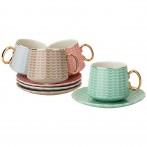 Чайный набор на 4пер. 8пр. 220мл, 4 цвета: серый, кофейный, розовый, мятный (кор=6наб.)