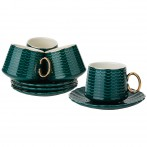 Чайный набор на 4пер. 8пр. 220мл, темно-зеленый (кор=6наб.)