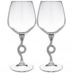 Набор бокалов для вина из 2 шт платиновые.370 мл. высота=23 см.