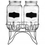 Диспенсеры  для напитков 2 штуки по 3,4 л на подставке размеры=30*15,2*38 см