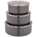 Набор мисок agness эмалированных, серия deluxe с пластиковыми крышками, 14/16/18см, 0,6/0,9/1,3л.