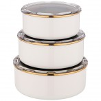 Набор мисок agness эмалированных, серия deluxe с пластиковыми крышками, 14/16/18см, 0,6/0,9/1,3л,
