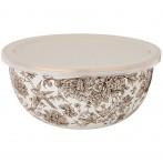 Миска agness эмалированная с пластиковой крышкой,  серия royal garden 24 х 10,5 см/ 2,8л