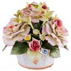 Декоративная корзина с цветами 19*17 см. высота=18 см.
