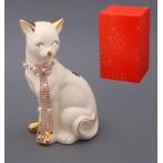 """Статуэтка """"Кошка с цепочкой"""" (белая)"""