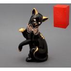 """Фигурка """"Кошка с бантом-цепочкой"""" (черная)"""