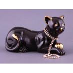 """Фигурка """"Кошка черная с цепочкой"""""""