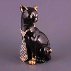 """Статуэтка """"Кошка черная с галстуком"""" (правая)"""