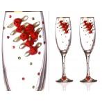 Набор бокалов для шампанского из 2-х шт с золотой каймой 170 мл.