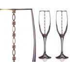 Набор бокалов для шампанского из 2 шт с золотой каймой 170 мл.