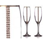 Набор бокалов для шампанского из 2 шт. с золотой каймой 170 мл. (кор=1набор.)