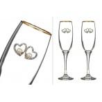 Набор бокалов из 2 шт д/шампанского с золотой каймой