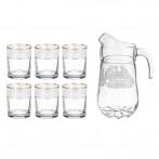 """Набор для сока """"Белые Розы"""" 7 предметов: кувшин + 6 стаканов"""