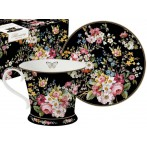 Чашка с блюдцем Цветочный карнавал, тёмная