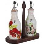 Набор из 2-х бутылок для масла  и уксуса на подставке Овощное ассорти