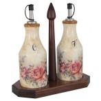 Набор из 2-х бутылок для масла  и уксуса на деревянной подставке Элианто