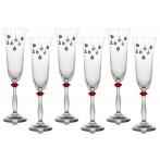 """Набор бокалов для шампанского из 6 шт.""""елочные игрушки"""" 190 мл."""
