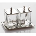 Набор для специй на подставке стекло-латунь 2 предмета