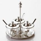 Набор для специй на подставке 3 предмета стекло- латунь