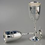 Набор посеребреных бокалов для шампанского 2 штуки