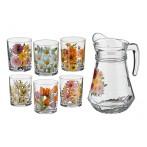 """Набор для сока """"Цветы"""" 7 предметов: кувшин + 6 стаканов"""