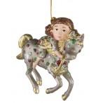 """Ёлочная игрушка """"Девочка на лошади"""""""