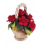"""Изделие декоративное """"корзина с розами""""14*7 см.высота=16 см."""