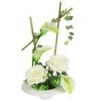 Декоративные цветы Розы и каллы белые на керамической подставке