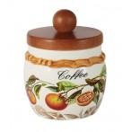 Банка для сыпучих продуктов с деревянной крышкой (кофе) Апельсины
