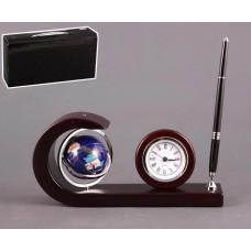 Набор: подставка + ручка + часы + глобус