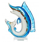 Статуэтка стеклянная Щука сине-голубая