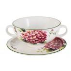 """Суповая чашка на блюдце """"Цветы и птицы"""""""