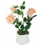 Декоративные цветы Розы кремовые в керамической вазе