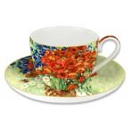 """Чашка с блюдцем """"Натюрморт с красными маками и ромашками"""" (Ван Гог)"""