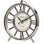 Часы настольные круглые серебристые