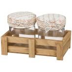 """Набор банок для сыпучих продуктов """"Home"""" из 2 шт. на деревянной подставке"""
