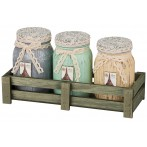 """Набор банок для сыпучих продуктов """"Париж"""" из 3 шт. на деревянной подставке"""