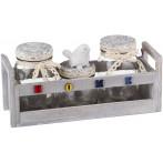 """Набор  банок для сыпучих продуктов """" Home"""" из 3 шт. на деревянной подставке"""