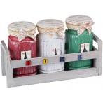 """Набор цветных банок для сыпучих продуктов """"Париж"""" на деревянной подставке из 3 шт."""