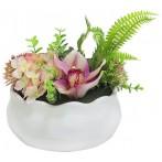 Декоративные цветы Гортензия розовая и орхидея в керам вазе